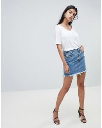 DIESEL - Denim Skirt With Exposed Button Detail - Lyst