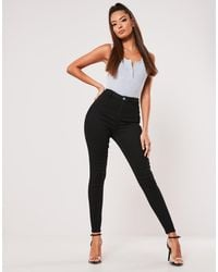 Missguided Vice Highwaisted Skinny Jean With Belt Loops - Black