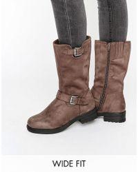 New Look High Suedette Biker Boot - Brown - Grey