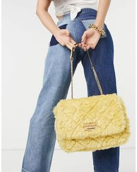 River Island Faux Fur Quilted Shoulder Bag - Yellow