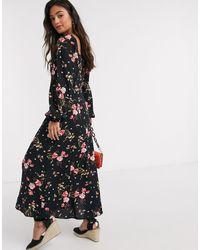 New Look Платье Мидаски С Квадратным Вырезом И Цветочным Принтом -мульти - Черный