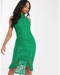 AX Paris Кружевное Платье Халтер С Баской -зеленый