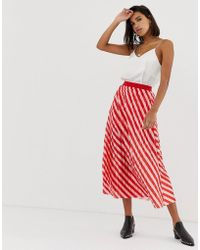 Soaked In Luxury Stripe Pleated Skirt - Red
