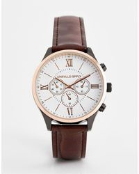 ASOS Classic Watch With Mixed Metal Finish And Mock Croc Strap - Brown
