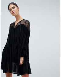 French Connection - Lassia Drape Dress With Lace Inserts - Lyst