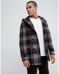 ASOS Wool Mix Duffle Coat With Orange Check In Black