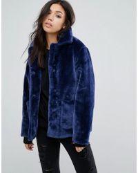 First & I - Velvet Jacket With Oversized Pockets - Lyst