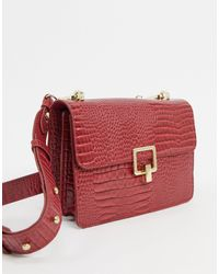 Pimkie Moc Croc Cross Body Bag - Red