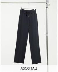 ASOS ASOS DESIGN Tall - Jogger coupe droite en coton biologique avec taille large et pinces - Noir