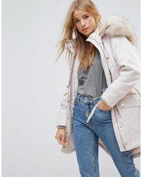 Miss Selfridge Faux Fur Collar Luxe Longline Parka - Multicolour