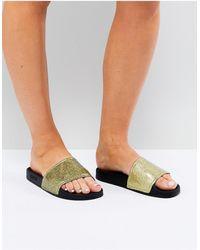 Slydes Glitter Slider Sandal - Metallic