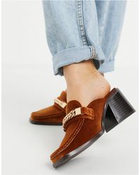 ASOS Shaw Chain Loafer Mid Heeled Mules - Yellow