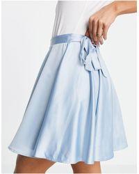 Flounce London Flippy Wrap Satin Mini Skirt With Tie Waist - Blue
