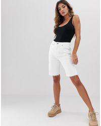 ASOS Farleigh - Short long taille haute en jean recyclé - Blanc