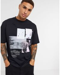 River Island Boxy T-shirt With Photographic Print - Black