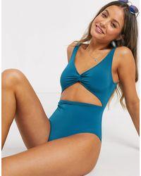 Monki Cut Out Swimsuit - Blue