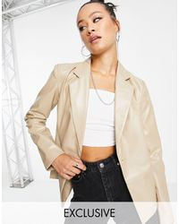 Reclaimed (vintage) Inspired Leather Look Blazer With Fitted Waist - Multicolour