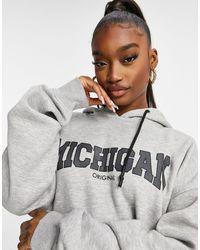 Public Desire Oversized Hoodie With Michigan Slogan - Gray