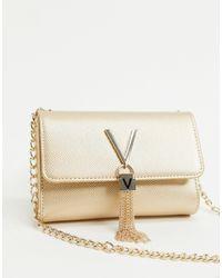Valentino By Mario Valentino Divina Foldover Tassel Detail Cross Body Bag - Metallic