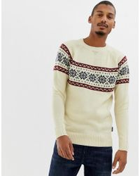 D-Struct Fair Isle Raglan Sweater - White