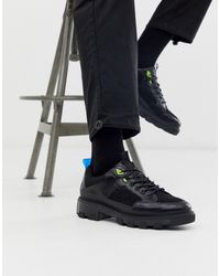 ASOS Lace Up Shoes In Black With Chunky Sole And Neon Yellow Details
