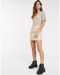 Miss Selfridge Faux Leather Skirt - Natural