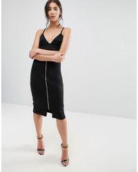 Liquorish - Black Zip Front Pencil Skirt - Lyst