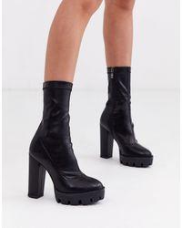 SIMMI Shoes Simmi London - Jemma - Stivaletti a calza neri con suola spessa - Nero