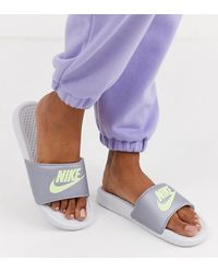 Nike Benassi Sliders In Silver And Green - White