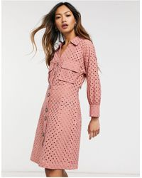 Native Youth Broderie Button Through Dress - Pink