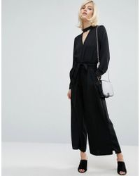 Fashion Union - Wide Leg Trousers With Paper Bag Tie Waist - Lyst