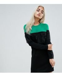 ASOS - Knitted Mini Dress In Colourblock With Lace - Lyst