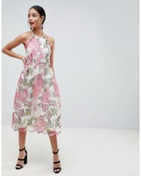 ASOS - Pinny Prom Midi Dress In Floral Lace - Lyst
