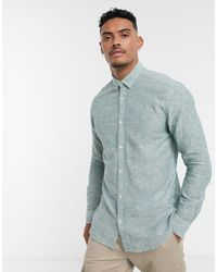 Only & Sons Slim Fit Linen Shirt - Green