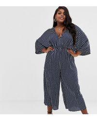 Missguided Kimono Sleeve Jumpsuit In Navy Polka Dot - Blue