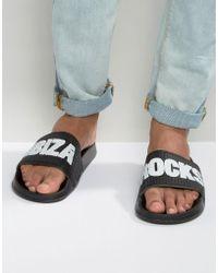 Slydes Ibiza Rocks Slider Flip Flops - Black