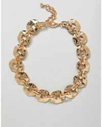 ASOS - Design Statement Necklace With Hammered Link Chain In Gold - Lyst