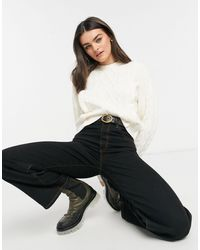 Mango Shoulder Detail Cable Knitted Jumper - White