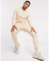 ASOS Muscle Tracksuit With Striped Rib - Natural