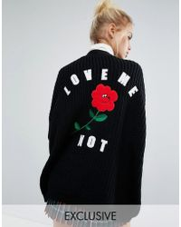 Lazy Oaf Exclusive Love Me Not Cardigan - Black