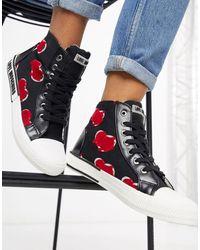 Love Moschino Высокие Черные Кроссовки С Логотипом -черный