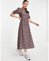 River Island Розовое Платье Миди С Объемными Рукавами, Завязкой Сзади И Цветочным Принтом -розовый Цвет