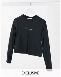 Calvin Klein Черный Лонгслив С Логотипом На Спине Эксклюзивно Для Asos