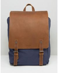 Forbes & Lewis Leather Devon Backpack In Navy - Blue