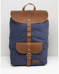Forbes & Lewis Leather Lincoln Backpack In Navy - Blue