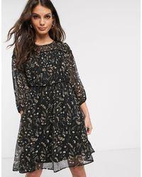 Vila Prairie Floral Mini Dress With Piping Detail-black