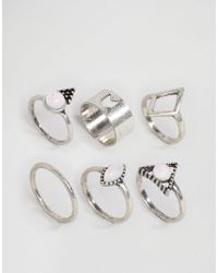 New Look - 6 Gem Stone Ring Multipack - Silver - Lyst