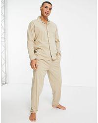 ASOS Ensemble pyjama confort avec chemise et pantalon - Beige - Neutre