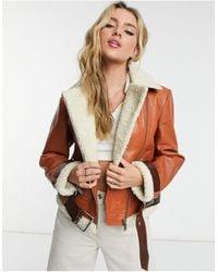 Bolongaro Trevor Hazel Shearling Leather Jacket - Orange