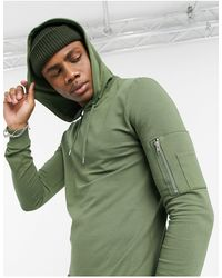 ASOS Muscle Hoodie With Ma1 Pocket - Green